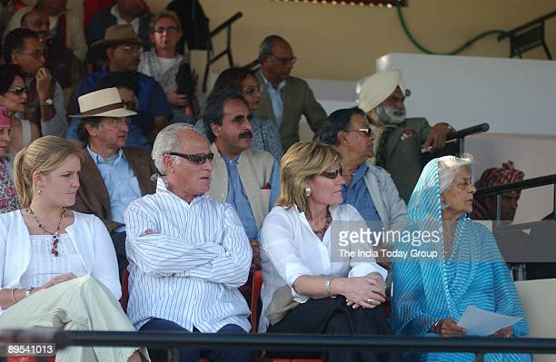 Maharani Gayatri Devi watches a polo match during the Jaipur International Heritage Festival on January 12, 2004 in Jaipur, India.