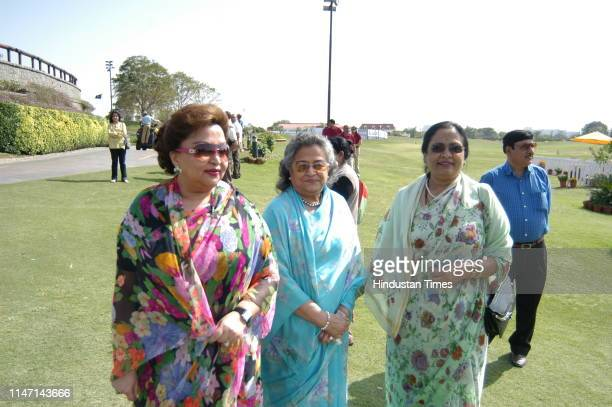 Maharani Madhavi Raje Scindia of Gwalior with her family during Madhav Rao Scindia Golf Tournament on March 5 2007 in Gurgaon India