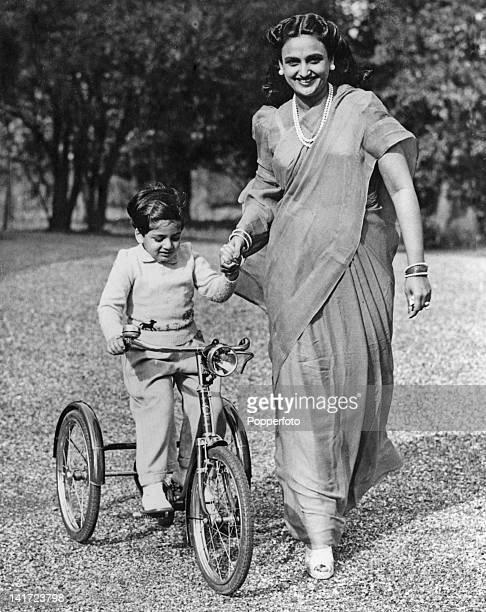 Maharani Sita Devi Sahib of Baroda with her son Maharajkumar Sayajirao Gaekwad at their home in Epsom Surrey circa 1948