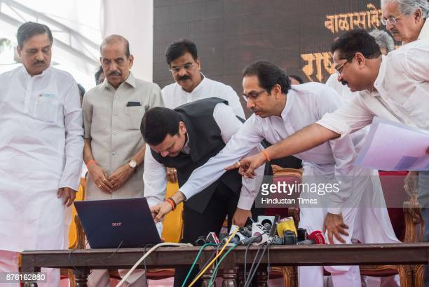 Maharashtra Chief Minister Devendra Fadnavis along with Manohar Joshi Sudhir Desai Diwakar Raute Aadesh Bandekar and Uddhav Thackeray during the...