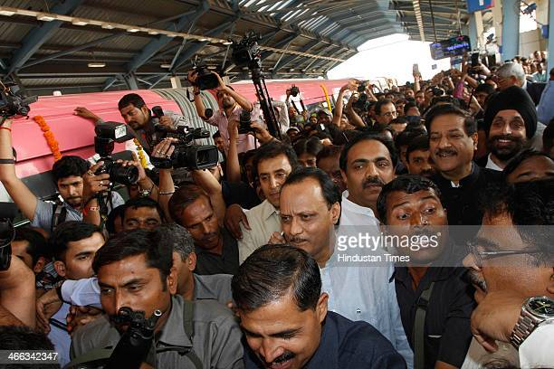 Maharashtra Chief Minister Prithviraj Chavan arriver to inaugurated the country's first Monorail service from Wadala to Chembur on February 1 2013 in...
