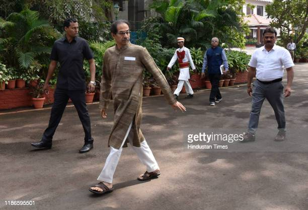 Maharashtra Chief Minister Uddhav Thackeray arrives to receive the Swedish King Carl XVI Gustaf and Queen Silvia at Raj Bhavan on December 4 2019 in...