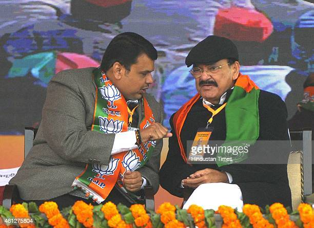 Maharashtra CM Devendra Fadnavis and Union Minister of Urban Development Venkaiah Naidu during the 'Abhinandan rally' of Prime Minister Narendra Modi...
