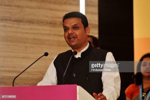 Maharashtra CM Devendra Fadnavis during the inauguration of Tata Consultancy Services at GB Road Thane on November 8 2017 in Mumbai India TCS Olympus...