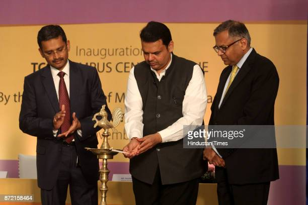 Maharashtra CM Devendra Fadnavis with N chandrasekaran Chairman Tata and Sons and Rajesh Gopinthan MD TCS during the inauguration of Tata Consultancy...