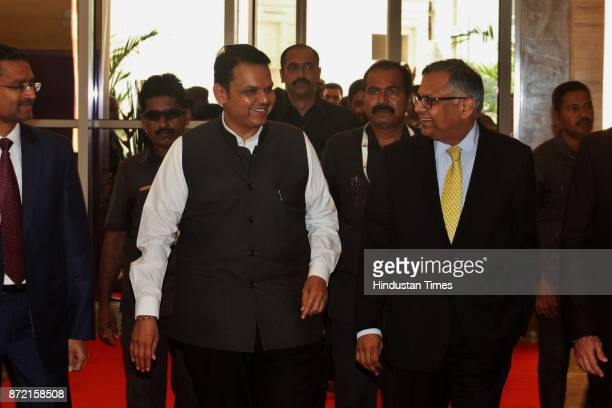 Maharashtra CM Devendra Fadnavis with N chandrasekaran Chairman Tata and Sons during the inauguration of Tata Consultancy Services at GB Road Thane...
