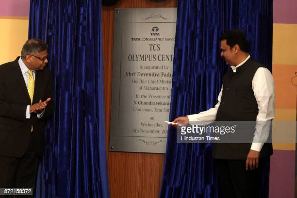 Maharashtra CM Devendra Fadnavis with Rajesh Gopinthan MD TCS during the inauguration of Tata Consultancy Services at GB Road Thane on November 8...