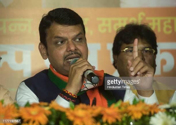 Maharashtra CM Devendra FadnavisState President BJP Maharashtra Chandrakant Bacchu Patil and President of BJP Jagat Prakash Nadda during the release...