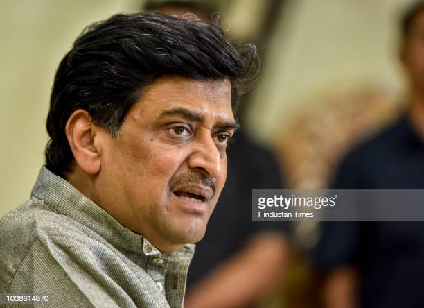 Maharashtra Congress President Ashok Chavan interacts with media during press conference at Tilak Bhavan Dadar on September 22 2018 in Mumbai India