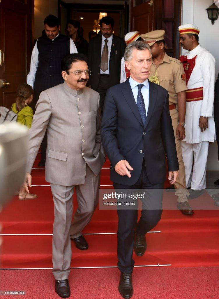 IND: Argentinian President Mauricio Macri Visits Raj Bhavan in Mumbai