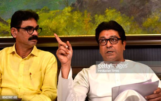 Maharashtra Navnirman Sena Chief Raj Thackeray during a press conference at Krishna Kunj Shivaji Park on September 30 2017 in Mumbai India Calling...