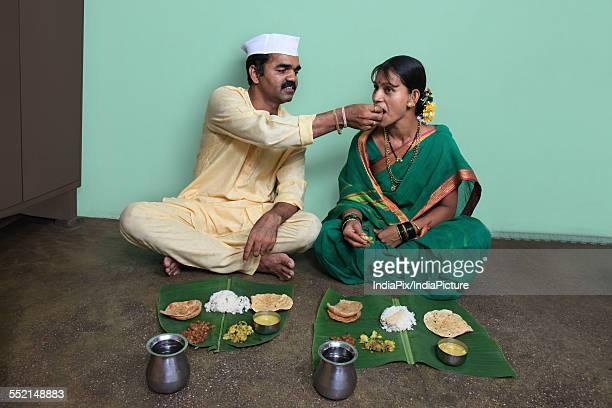 Maharashtrian couple having lunch