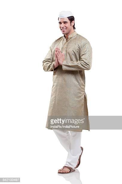 maharashtrian man greeting - kurta stock pictures, royalty-free photos & images