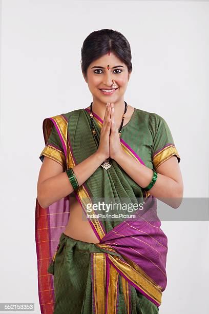 A Maharashtrian woman greeting