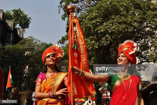 Maharashtrian women celebrate Gudi Padwa with 'Save Environment Massage' in a traditional way on March 28 2017 in Mumbai India Gudi Padwa is a...