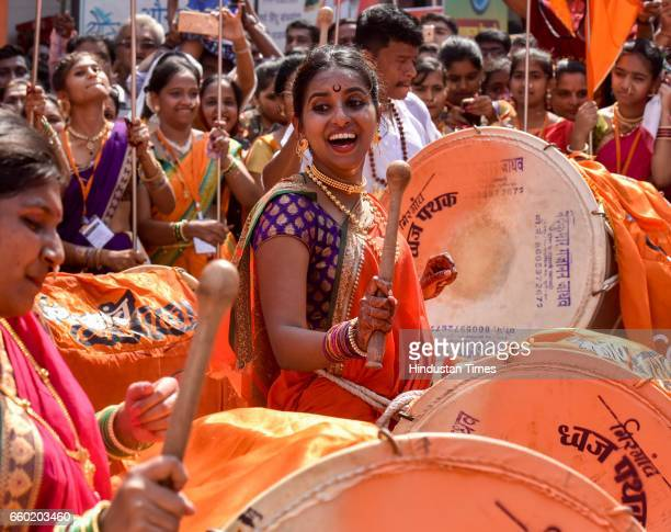 Maharashtrian youth dressed in traditional attire as they take part in a procession celebrating 'Gudi Padwa' or the Maharashtrian New Year at Girgaum...