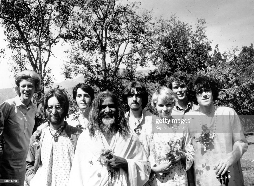 Maharishi Mahesh Yogi with members of the Beatles and other famous followers, who have chosen to study transcendental meditation at his academy in India, March 1968. Included in the group are, from left to right; unknown, John Lennon (1940 - 1980), Paul McCartney, Maharishi Mahesh Yogi, George Harrison (1943 - 2001), Mia Farrow, unknown, and Donovan.