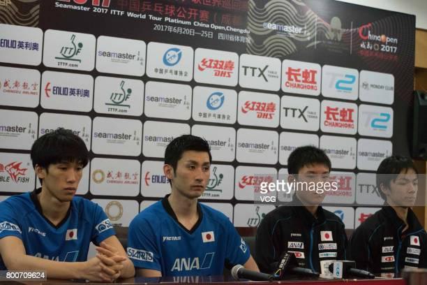 Maharu Yoshimura and Jin Ueda Tomokazu Harimoto and Koki Niwa of Japan attend a press conference after Men's doubles final match of 2017 ITTF World...