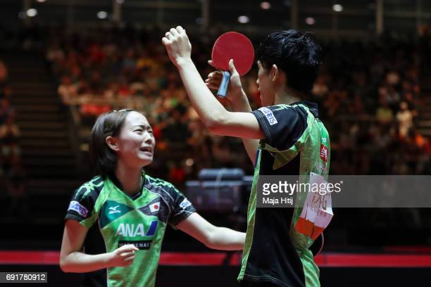 Maharu Yoshimura of Japan and Kasumi Ishikawa celebrate after winning Mixed Doubles Semi Finals at Table Tennis World Championship at Messe...