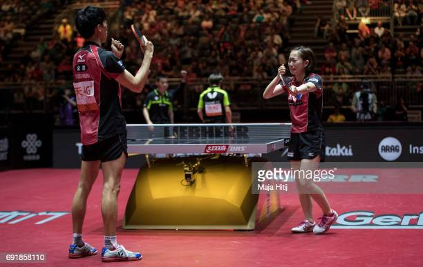 Maharu Yoshimura of Japan and Kasumi Ishikawa celebrate after winning Mixed Doubles Finals at Table Tennis World Championship at Messe Duesseldorf on...