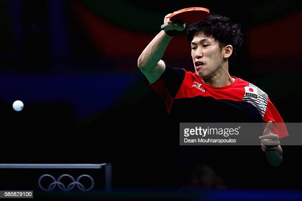 Maharu Yoshimura of Japan hits a shot in the Table Tennis practice session during the Olympics preview day 1 at Rio Centro on August 4 2016 in Rio de...