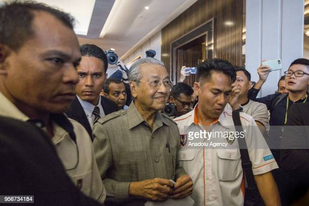 Mahathir Mohamad elected Prime Minister of Malaysia is seen after holding a press conference together with the leaders of Pakatan Harapan the former...