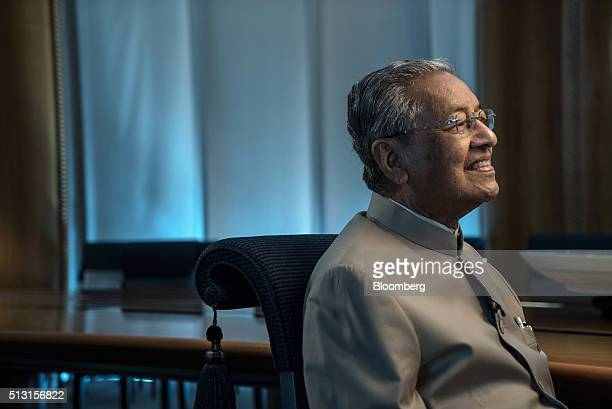 Mahathir Mohamad Malaysia's former prime minister listens during an interview at his office in Kuala Lumpur Malaysia on Thursday Feb 25 2016 Mahathir...