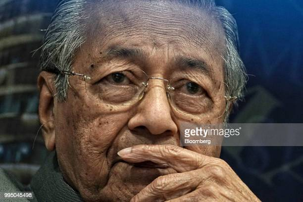 Mahathir Mohamad Malaysia's prime minister attends a news conference at the Malaysian AntiCorruption Commission headquarters in Putrajaya Malaysia on...