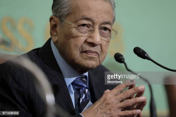 Mahathir Mohamad Malaysia's prime minister pauses during a news conference at the Japan National Press Club in Tokyo Japan on Monday June 11 2018...