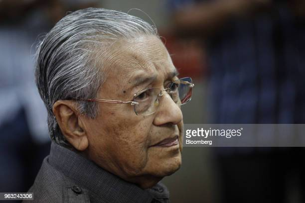 Mahathir Mohamad Malaysia's prime minister pauses during a news conference in Petaling Jaya Malaysia on Monday May 28 2018 Mahathir said he will...
