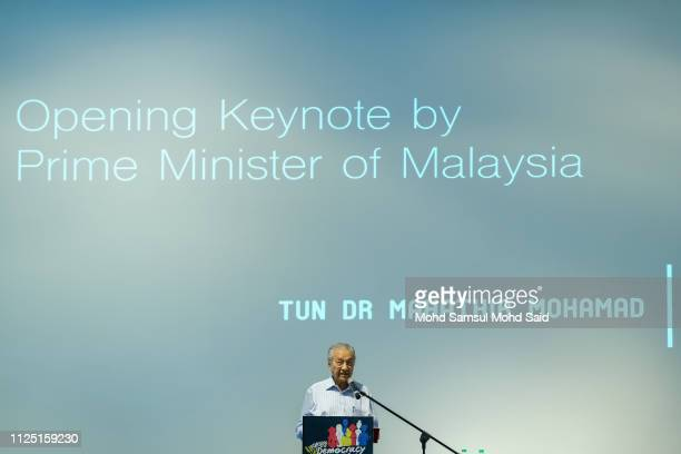 Mahathir Mohamad Prime Minister Of Malaysia give a keynote address during the celebrating democracy in Malaysia marked by Democracy Fest 2019 on...