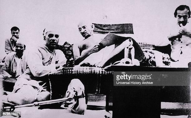 Mahatma Gandhi and Jawaharlal Nehru During Protest Mumbai India July 8 1942