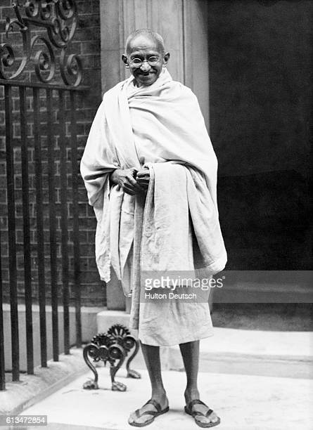 Mahatma Gandhi at No 10 Downing St the residence of the British Prime Minister in London