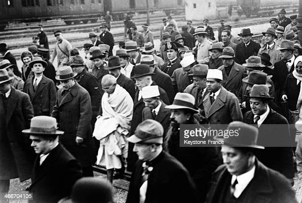 Mahatma Gandhi Hindu nationalist leader receives a warm welcome at his arrival in Rome on December 14 1931 in Rome Italy