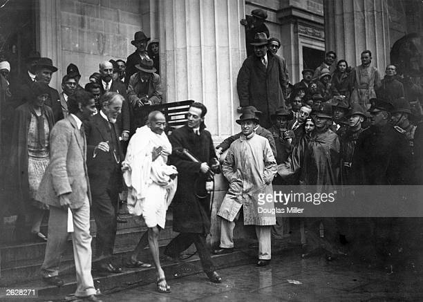 Mahatma Gandhi Indian Congress Leader and representative of the Indian Nationals leaves the Friends' Meeting House Euston Road after attending the...