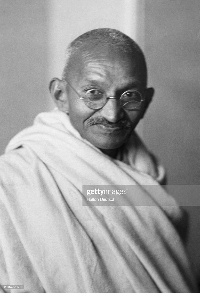 Mahatma Gandhi, leader of campaigns of nonviolence and civil disobedience in the Indian Independence struggle.