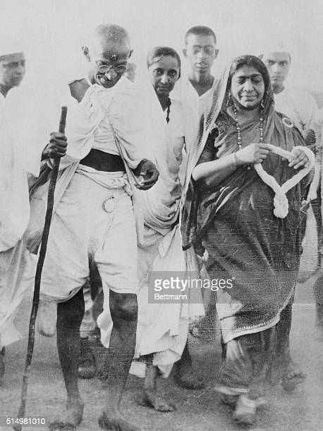 Mahatma Gandhi leader of the Indian civil disobedience revolt as he marched to the shore at Dandi to collect salt in violation of the law On the...