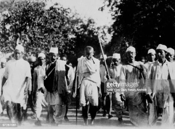 Mahatma Gandhi leading his followers on the famous salt march to break the English Salt Laws