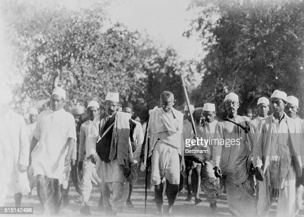 Mahatma Gandhi on his famous March to the Sea to make salt in defiance of the British salt monopoly