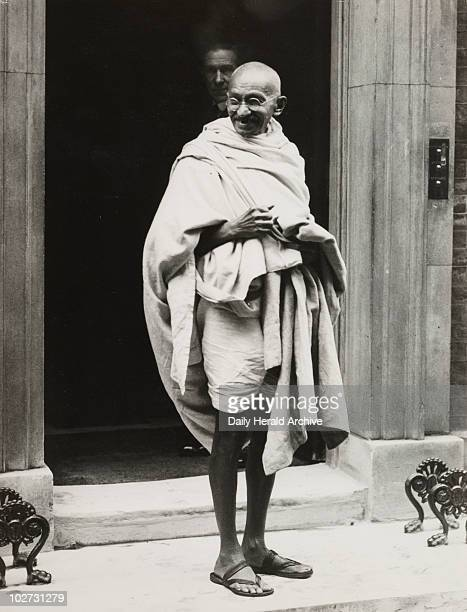 Mahatma Gandhi on the steps of 10 Downing Street 1931 Gelatin silver print Gandhi travelled to Britain in 1931 in order to attend the Second Round...