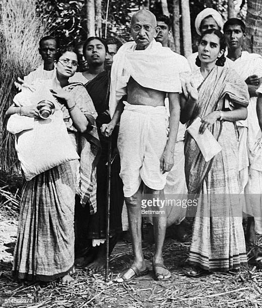 Mahatma Gandhi with his granddaughter Ava and his personal physician Dr Sushila Nayar