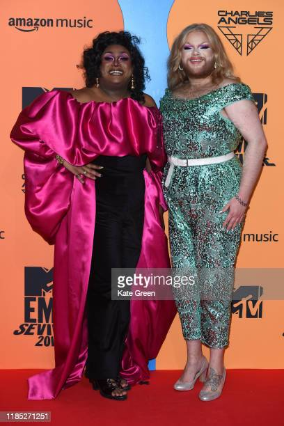 Mahatma Kandhi and Grace Shush attend the MTV EMAs 2019 at FIBES Conference and Exhibition Centre on November 03 2019 in Seville Spain