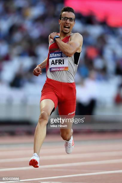 Mahdi Afri of Morocco competes in the Mens 200m T12 final during day eight of the IPC World ParaAthletics Championships 2017 at London Stadium on...