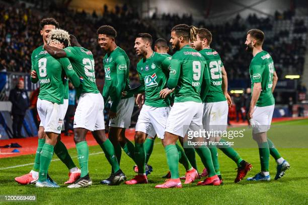 Mahdi CAMARA of Saint Etienne celebrates his goal with team mates during the French Cup Soccer match between Epinal and SaintEtienne on February 13...