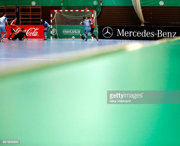 Mahdi Matar of Blumenthal fights for the ball during the DFB Indoor Football half final match between Blumenthaler SV and VFB Eppingen on March 25...