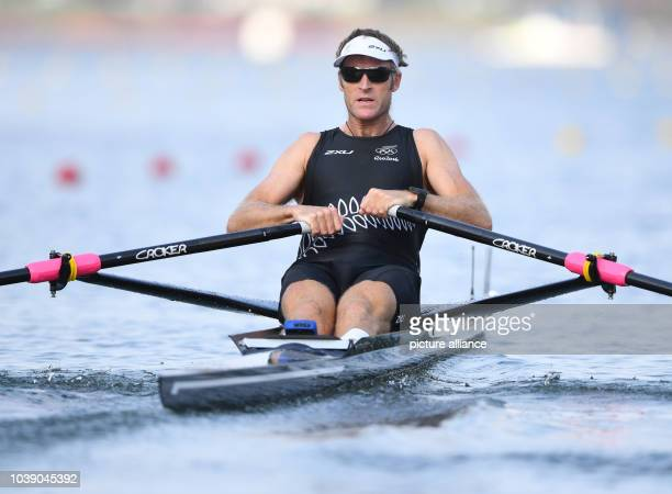 Mahe Drysdale of New Zealand competes in the Men's Single Sculls Quarterfinals of the Rowing events during the Rio 2016 Olympic Games at Lagoa...