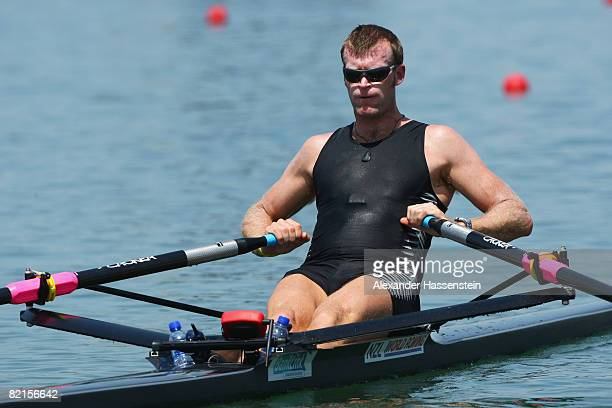 Mahe Drysdale of New Zealand men's single sculls practices at the Shunyi Olympic RowingCanoeing Park ahead of the Beijing 2008 Olympic Games on...