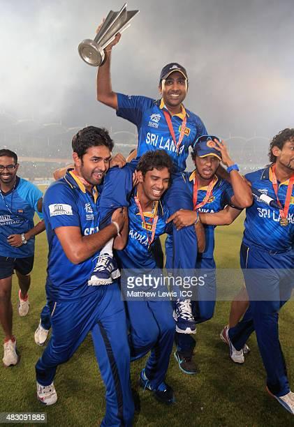 Mahela Jayawardena of Sri Lanka celebrates his team's win over India after the ICC World Twenty20 Bangladesh 2014 Final between India and Sri Lanka...