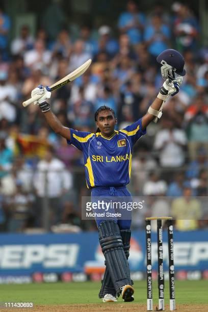 Mahela Jayawardena of Sri Lanka celebrates reaching his century during the 2011 ICC World Cup Final between India and Sri Lanka at Wankhede Stadium...