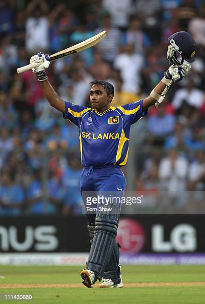 Mahela Jayawardene of Sri Lanka celebrates reaching his century during the 2011 ICC World Cup Final between India and Sri Lanka at the Wankhede...